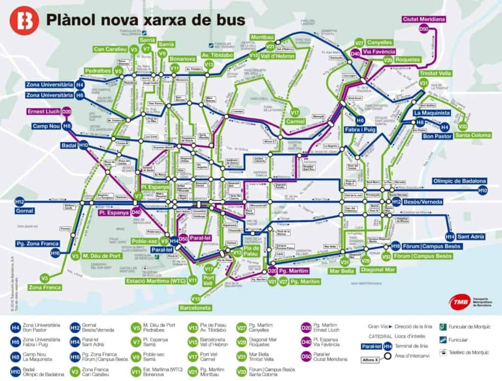 Bus connection map Barcelona